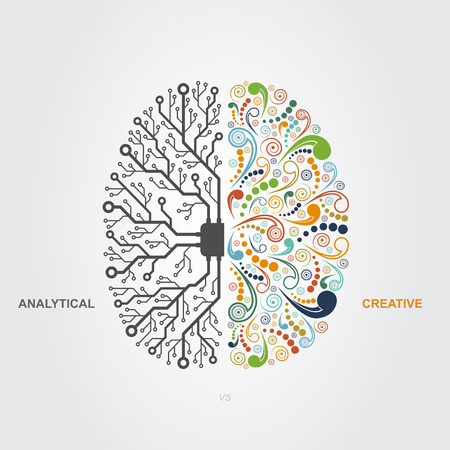 left right: left and right brain functions concept, analytical vs creativity Illustration