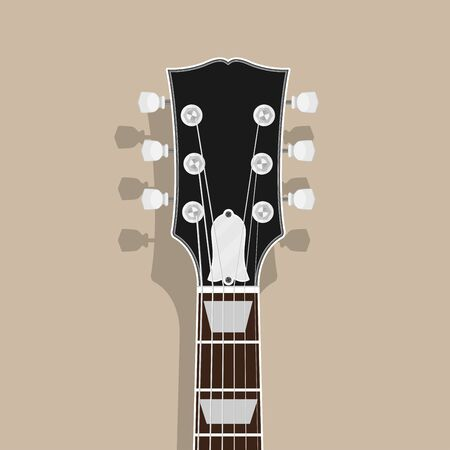 guitar neck head with shadow, flat style illustration, rock, blues concept