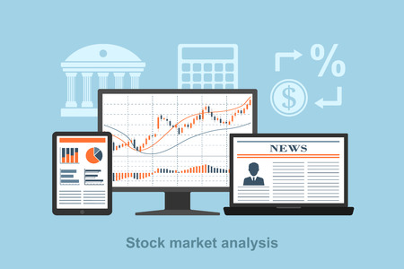 trade: flact style concept for stock market analysis concept, online trading concept, forex concept Illustration
