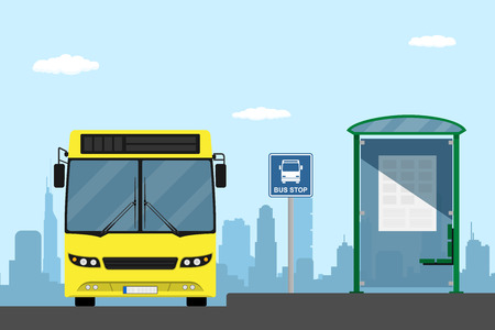 stop: picture of a yellow city bus on a bus stop, flat style illustration