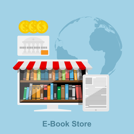 book store: flat style concept for online book store, pc screen with book shelves, tablet with text on screen, credit card, coins