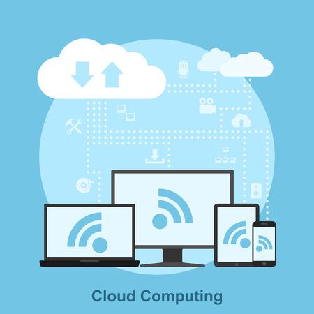 Bild von elektronischen Geräten in die Cloud verbunden, Flat-Konzept für Cloud-Service Standard-Bild - 43568104