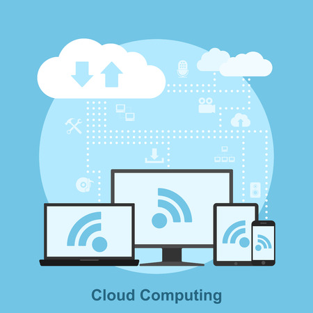 picture of electronic devices connected to the cloud, flat style concept for cloud service