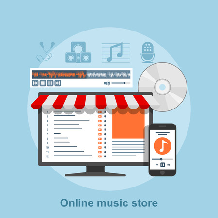tracklist: flat style concept for online music service, music store