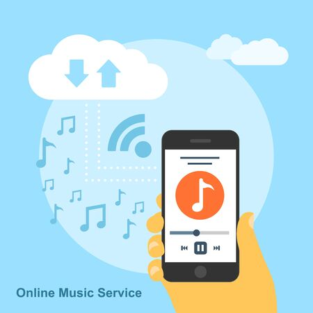 had: picture of human had with smartphone playing song and connected to the cloud service, flat style concept for online music service