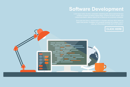 flat style concept for software development