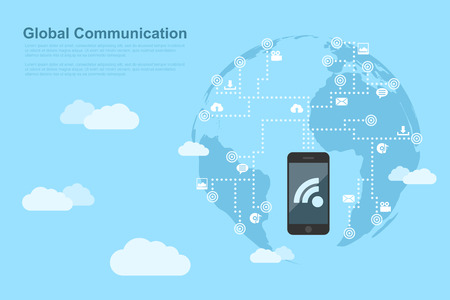 cloud computing technologies: picture of human hand with mobile phone linked to the points around the world Illustration