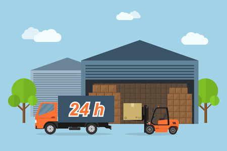 warehouse storage: Picture of delivery truck and forklift loading box, delivery service concept, flat style illustration