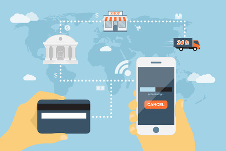 flat style concept for mobile payment using smartphone and credit card, near field communication technology, online banking, online shopping, e-commerce