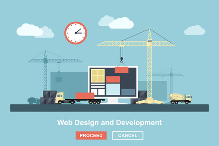 flat style concept for web design working process, metaphorical representation of web design workflow like industrial construction with lifting cranes, trucks etc.
