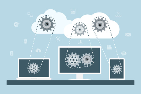 Cloud computing concept. Data storage network technology. PC, laptop and tablet connected to the clouds with gear transmission. Flat style illustration.