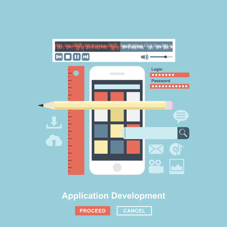 mobile application: flat style design of mobile apps development process, api testing for phone application, smartphone user interface construction
