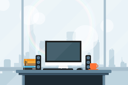 sity: flat style illustration of modern workspace in office with the wiev on the big sity panorama Illustration