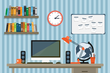 flat style illustration of moder workplace in room or office, workspace of creative worker Ilustração