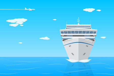 picture of cruise liner in the sea, front view, flat ctyle illustration on vacation, travel, holidays concept