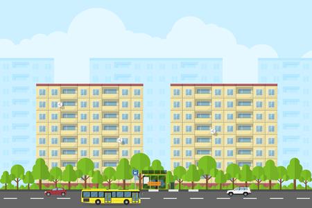 parada de autobus: foto de paisaje de la ciudad con los edificios prefabricados, carreteras, bas parar, autobuses y coches, el concepto de estilo plano para la promoción del producto y la publicidad