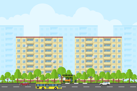 bus stop: picture of city landscape with panel houses, road, bas stop, bus and cars, flat style concept for product promotion and advertising