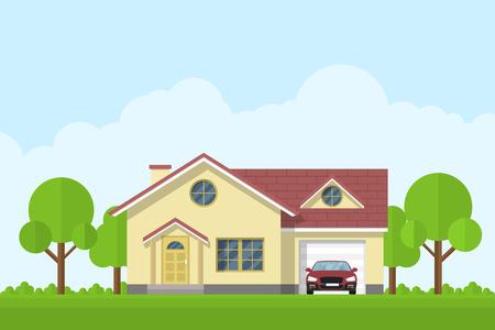 fachada: dibujo de una casa privado de estar con garaje y coche, estilo de ilustración plana Vectores