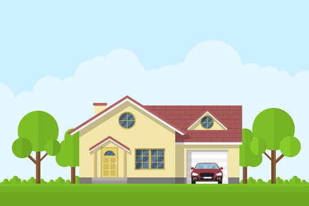 family in front of house: picture of a privat living house with garage and car, flat style illustration