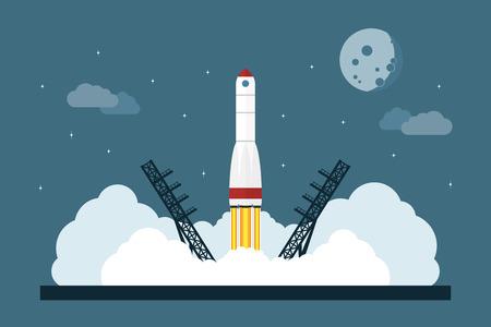 imagen del cohete espacial de partida, el concepto de estilo plano para la puesta en marcha de negocios, nuevo servicio o lanzamiento de producto Vectores