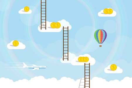 stairway: picture of clouds with dollar coins on it connected with ladders adn plane and ballon on background, flat style concept for business goals and success