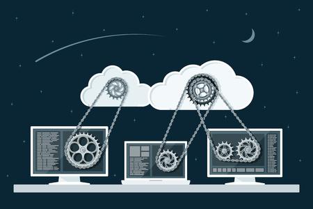 engranes: Concepto de computación en la nube. La tecnología de redes de almacenamiento de datos. PC y portátil conectado a las nubes con transmisión de engranajes. Ilustración de estilo Flat.