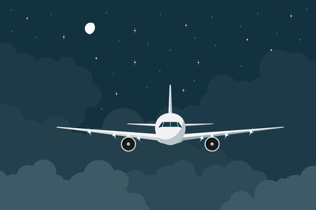 from above: piture of a civilian plane flying in the night above the clouds, flat style illustration