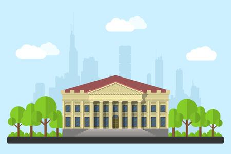 edificio banco: imagen del edificio del banco, las nubes y los �rboles, con la silueta de la ciudad grande en el fondo, ilustraci�n estilo plano