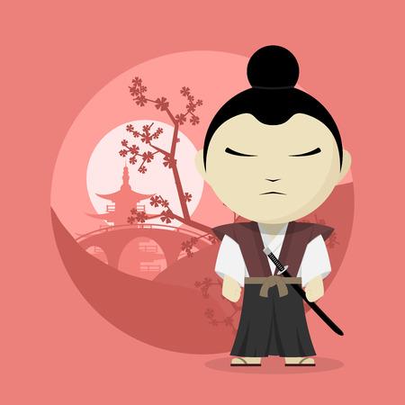 asian warrior: picture of a cartoon samurai, flat style illustration Illustration
