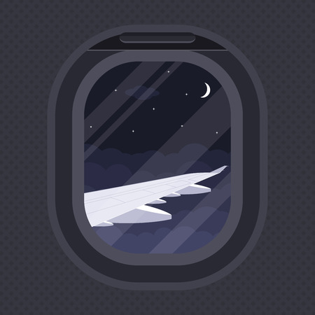 the view of plane wing through illuminator, flat style illustration, travel, around the world concept