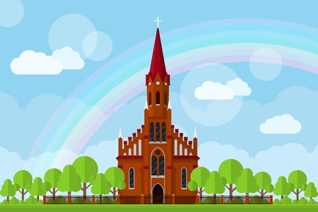church window: picture of a Roman-Catholic church with fence, trees, clouds and rainbow, flat style illustration