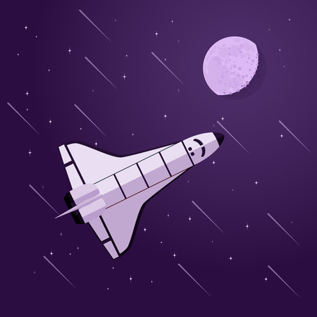 space shuttle: picture of space shuttle in front of moon and stars