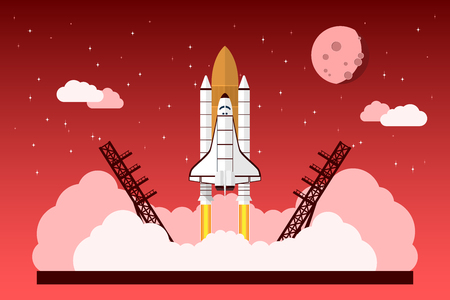 picture of a starting space shuttle in front of sky with stars, clouds and moon, vector concept for start up project, new business, product or service Vectores