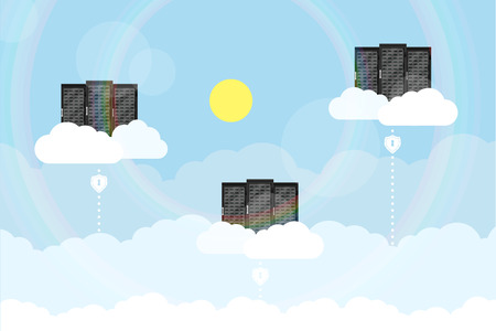 picture of a servers placed on clouds with lines from ground, flat style concep fo cloud computing theme