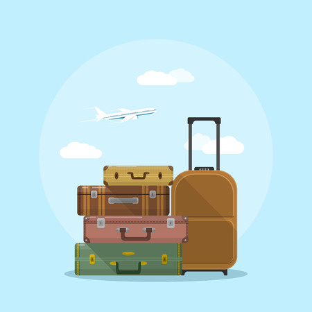 picture of suitcases stack with clouds and plane on background, flat style illustration, vacation and travel concept Vectores