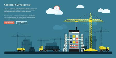 vlakke stijl concept voor smartphone-applicatie ontwikkeling werkproces, metaforische voorstelling van app ontwikkeling workflow zoals industriële constructie met kranen, vrachtwagens etc.