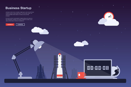 Picture of a space rocket ready to launch, flat style concept for business startup, new product or service launch themes Illustration