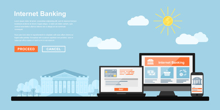 cuenta bancaria: Imagen del monitor de PC, ordenador portátil y el teléfono móvil con el edificio del banco en el fondo, el concepto de estilo plano de la banca por Internet, pagos en línea concepto