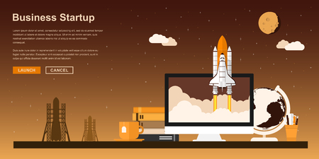 starting a business: Picture of a space shuttle starting up from pc monitor, flat style concept for business startup, new product or service launch