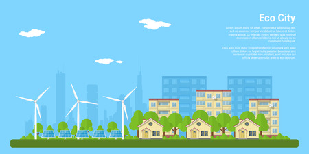 green eco city with privat houses, panel houses, wind turbines and solar panels, flat style concept for renewable energy and eco technologies