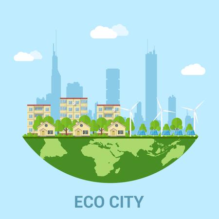 energías renovables: ciudad ecológica verde con casas Privat, edificios prefabricados, turbinas eólicas y paneles solares, el concepto de estilo plano de las tecnologías de energías renovables y eco
