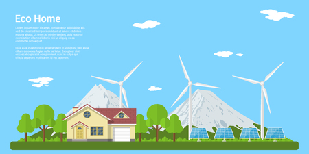 picture of a privat house, solar panels and wind turbines with mountains on background, flat style concept of eco home, renewable energy, ecology Illustration
