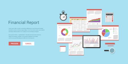 Platte stijl illustratie van financiële concept. Jaarlijks financieel verslag, bedrijf strategie en management, geld inkomen, investeringen en planning.