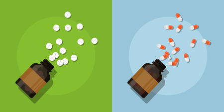 picture of medicine pills and bottles, flat style illustration Illustration