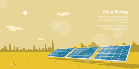 picture of solar batteries in a desert with mountains and big city silhouette on background, flat style concept of renewable solar energy Ilustração