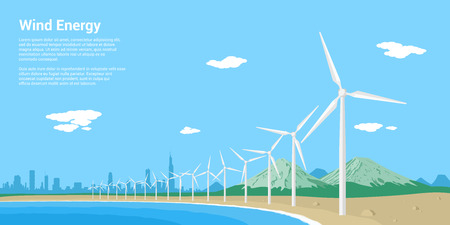spinning windmill: picture of wind turbines on a sea shore, flat style concept of renewable wind energy
