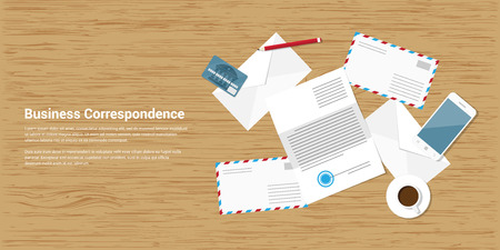 smart card: flat style banner illustration of business correspondence and mailing concept