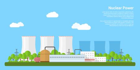 imagen de la planta de energía nuclear, estilo plano bandera del concepto del concepto de generación de energía Ilustración de vector