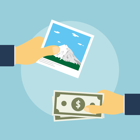 give: picture of human hand holding photo and another one holding money, flat style illustration, selling photoes concept