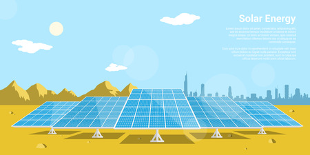 picture of solar batteries in a desert with mountains and big city silhouette on background, flat style concept of renewable solar energy Vectores